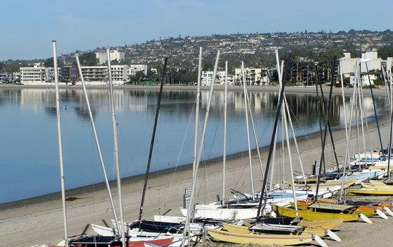 mission bay beach and catamarans