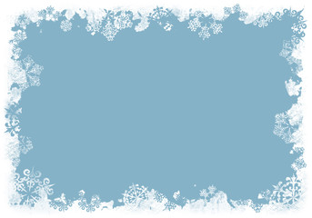 grunge snowflakes background blue