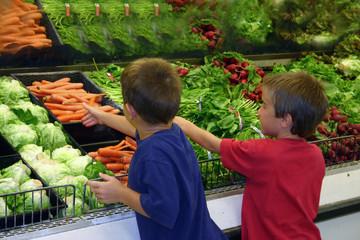 boys shopping for produce