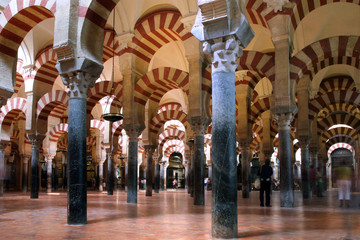arches in mezquita in cordoba
