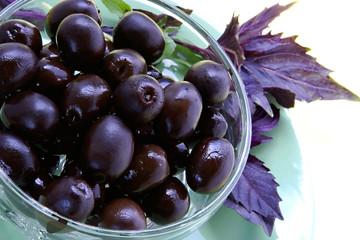 black olives and basil