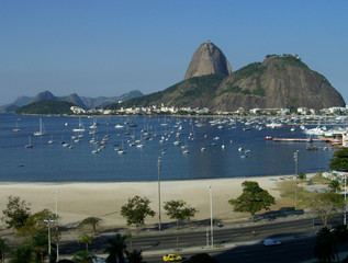 sugarloaf mountain with botafogo beach and bay