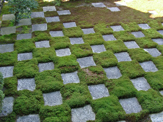 tiles of stone and moss