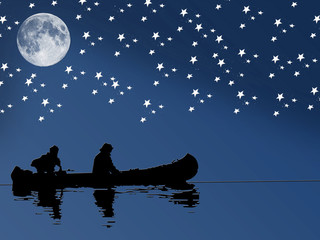 lake with a boat in a moon night
