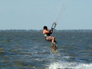 kitesurfer flying
