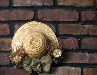 decoration on brick wall