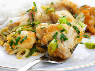 monkfish in ginger with spring onions and rice