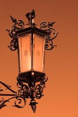 street lantern during sunset