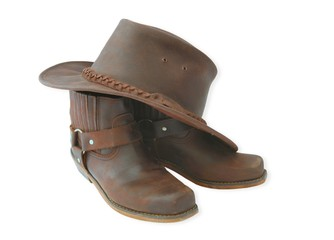 boots and hat-brown