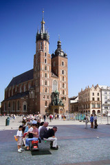 people on the square in krakow