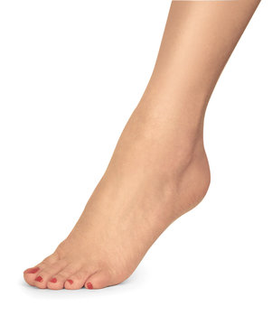 female foot with red nail polish