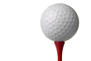 golf ball on red tee, white background