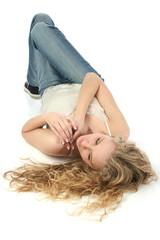 glamorous blond on floor