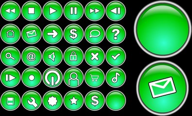 green glass buttons