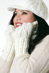 beautiful woman in winter clothes
