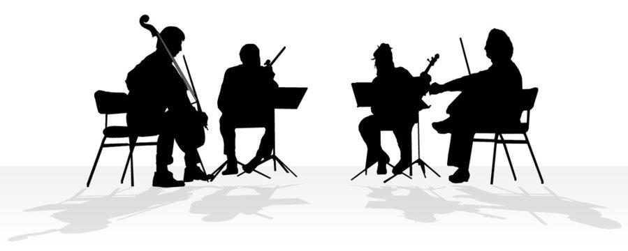 silhouette of quartet