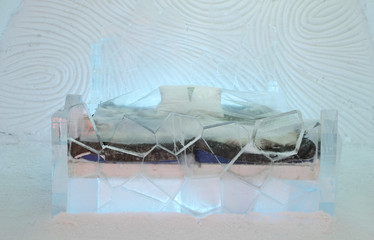 bedroom and bed at ice hotel