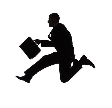 silhouette of jumping businessman