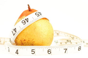 An image of a measuring tape, around a pear, symbolising pear shaped.
