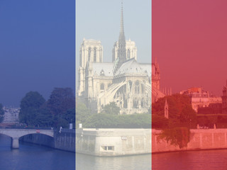 notre dame and french flag