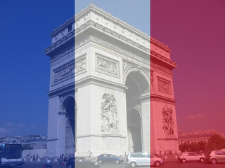 arc de triomphe and french flag