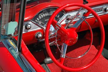 Tuinposter Oude auto s vintage car dash board and wheel