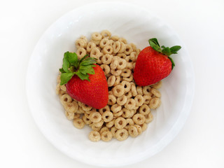 cereal and strawberries