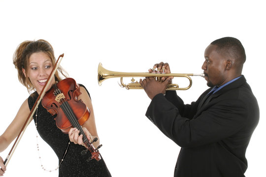 two musicians play around