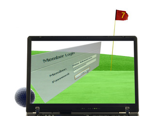 laptop abstrakt mit putting green und login