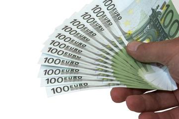 einhundert euro scheine in der hand p05