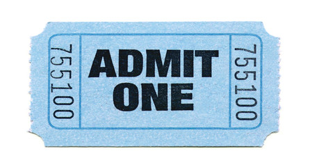 admit one ticket (light blue)