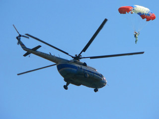 helicopter and parachuter