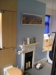 art deco fireplace in bathroom
