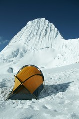 mountain alpamayo and high tent