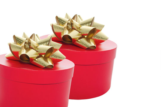 two red gift boxes