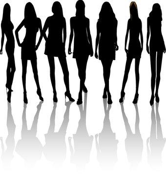 silhouettes  women, illustration