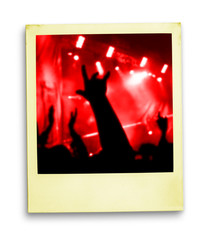 polaroid photo: crowd of fans