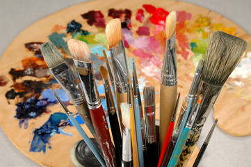 artist's brushes and palette