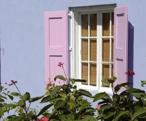 pink window, blue wall