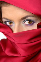 red scarf covered woman