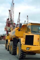 big dumper truck in port