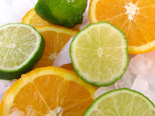 lime and an orange