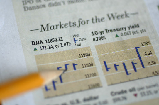 stock markets and bar graphs