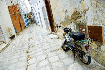 motorcycle at arabian street in medina