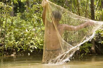 fischen mit netz
