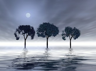 trio of trees under the moon