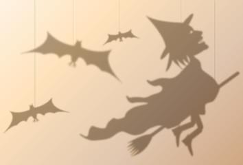 silhouette puppet witch hallowe'en