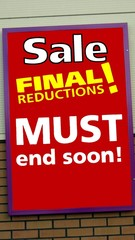 sale, final reductions sign