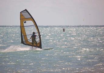 yellow windsurf sail
