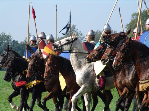 norman horsemen line up for battle in hastings